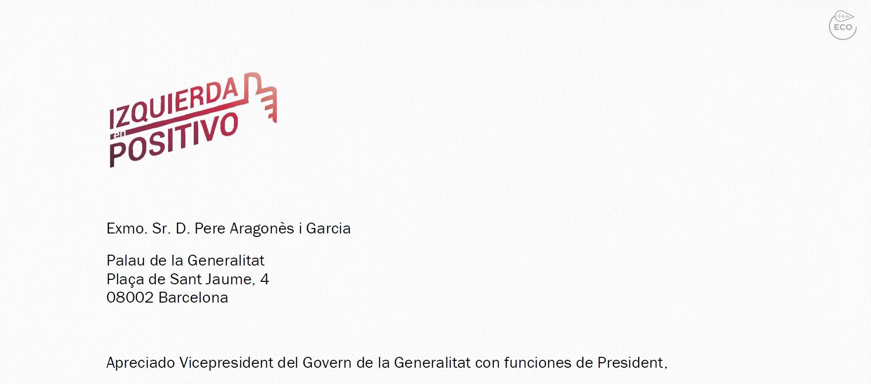 Carta de Izquierda En Positivo al Vicepresident Pere Aragonès